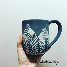 How To Design Pottery Sgraffito Mountain Mug By Turned To Stone Design Pottery