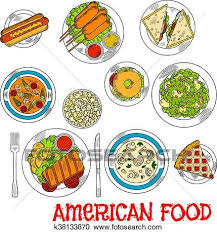 american food clipart.  Clipart Popular American Food Colored Sketch With Grilled Beef Steak Hot Dog And  Bagel Cheeseburger Corn Dogs Salmon Sandwiches Seafood Tomato Cream  With American Food Clipart O