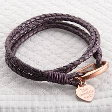 rose gold and leather personalised wrap bracelet