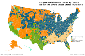 what is being shown is the racial ethnic group in each county that is most disproportionate to the makeup of the united states