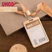Gold Card Office Uhoo 6042 Aluminium Alloy Vertical Id Card Holder With Lanyard Gold Silver Card Holder Name Tag Badge Holder Office Supplies