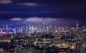 Hong Kong, Night, City lights, Skyline ...