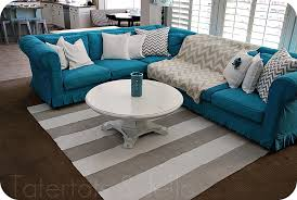 Turquoise Slipcovers For Sectional Couches With Cool Pillows White Round  Table And Stripped RUg