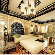 living room room moroccan style white metal crystal chandelier lighting blue leather sectional sofa ottoman