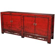 Antique Chinese Red Lacquer Four-Door Sideboard 1