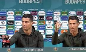 Cristiano Ronaldo show agli Europei: CR7 snobba lo sponsor e caccia le  bottiglie di Coca Cola [VIDEO]