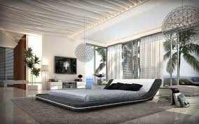 Modern Bedroom Bed Marquee Contemporary Leather Platform Bed With Led Lights