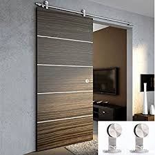 TCBunny 6 Ft 7 Inch Modern Stainless Steel Interior Sliding Barn Wooden Door  Hardware Track Set