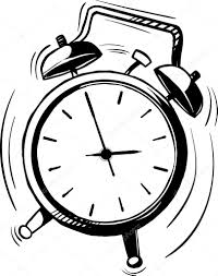 black and white hand drawn sketch of a classic old fashioned alarm clock with bells ringing and bouncing around with movement lines vector by