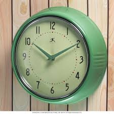 green fifties style kitchen wall clock