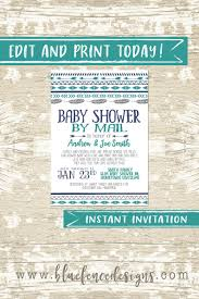 Blue Fence Designs Editable Teal And Navy Baby Shower By Mail Invitation Blue