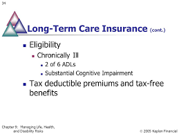 long term care insurance cont eligibility chronically ill 2 of 6 adls substantial cognitive impairment tax deductible premiums and tax free benefits