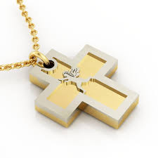 double cross with angel love cobo pendant made of 925 sterling silver 3