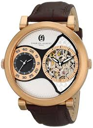 mens charles hubert rose gold plated stainless steel leather band 46mm dual time watch unclaimed diamonds