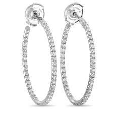 Premier Designs Inside Out Earrings Tiffany Co Metro 18k White Gold Inside Out Diamond Hoop Earrings