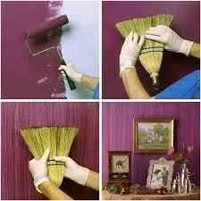 painted wallsHow to DIY Textured Painted Walls with a Grass Broom