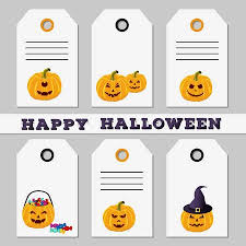 Set Of Halloween Sale Discount Offer Or Gift Tags On White
