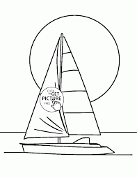 Sail Boat And Calm Coloring Page For Kids Transportation Coloring