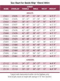 Choir Robe Size Chart White Choir Robe