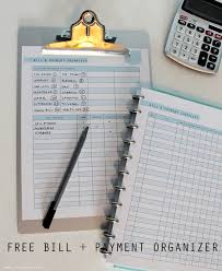 Home Finance Bill Organizer 2015 Free Printable Bill And Payment Organizer Clean Mama
