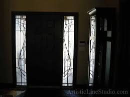 stained glass detail contemporary leaded glass door sidelights