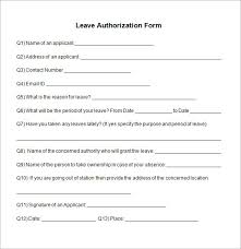Leave Of Absence Form Template Free 5 Sample Leave Authorization Form Templates In Pdf
