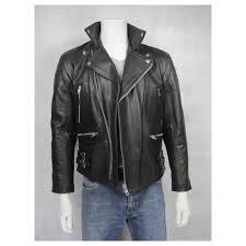 mens leather black biker rock black padded jacket