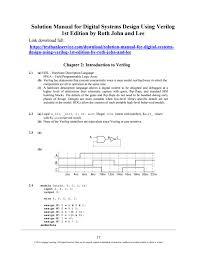 Digital Systems Design Using Verilog Solution Solution Manual For Digital Systems Design Using Verilog 1st