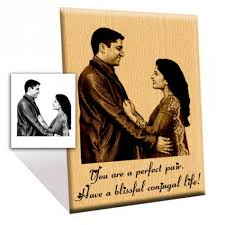 unique wedding gift engraved wooden photo