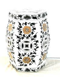 chinese garden stools garden seat porcelain hand painted white octagonal stool with flowers and black scroll chinese garden stools