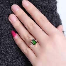 Emerald <b>14K Rose Gold</b> Green Diamond Ring <b>Anillos</b> De Bizuteria ...