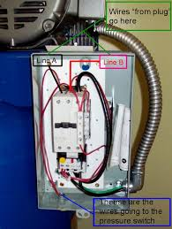 "i need help wiring my quincy air compressor the garage journal board customer you to add the power coming in to the terminals i marked line ""a"" and line ""b"" this would be the wires you are calling ""from plug"" i guess"