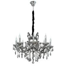 classic pendant chandelier with glass décor and smoky crystal droplets