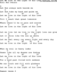 Let The Light In Lyrics Country Southern And Bluegrass Gospel Song Let Me Live In