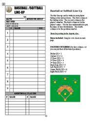 Baseball Softball Line Up Roster Card Pdf For Coaches Dugout Ump
