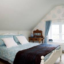 loveable attic bedroom design idea for girls with captivating floral pattern wallpapers and soft blue bedding attic bedroom design ideas d96 attic