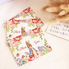 Cute Rabbit Decoration Thank You Card Small Gift Card Greeting Cards Party Invitation Card Supply Favors Personalized Birthday Cards Personalized Card