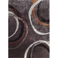 8 x 10 large mocha gray and orange area rug lola