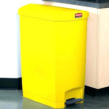 home improvement yellow trash cans kitchen can plastic slim resin end step on with garbage