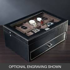 treviso leather valet box and ten watch display case engravable