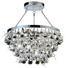 sparkling clear glass crystal 5 light luxury chrome flash mount chandelier