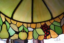 antique leaded stained glass chandelier fruit motif ca 1890 to expand