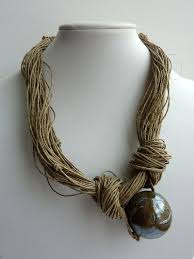 Jewerly Linen <b>Necklace</b> - <b>Blue</b> - Brown Natural Ceramic Bead ...