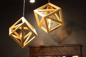 wood pendant lamp with a cage inside