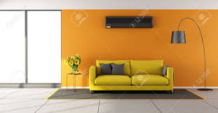Orange And Yellow Living Room Orange Living Room With Air Conditioner Yellow Sofa And Window