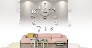 large silver 3d frameless wall clock only 15 27