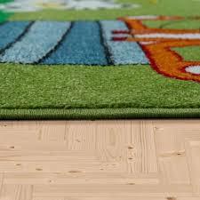 green nursery rug panda bear children bedroom carpet baby play room