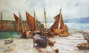 s scene with boats clovelly harbour by samuel towers the lytham st annes art collection