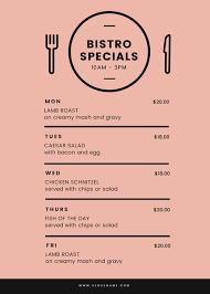 specials menu bistro specials menu with black illustrated table setting
