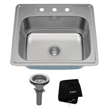 kraus 25 inch topmount single bowl 18 gauge stainless steel kitchen sink with noisedefend 8482